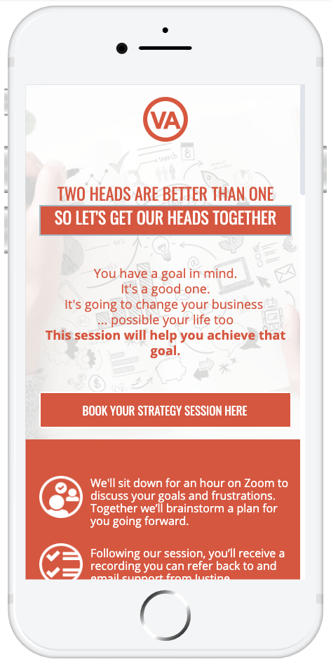 A 60 minute strategy session where we discuss your goals and brainstorm a plan to help you achieve those goals.  Helping you to grow your business the smart way.