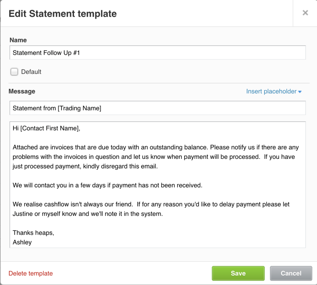 Xero email template overdue payment reminder 1
