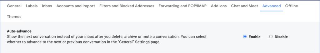 Auto Advance Gmail Setting